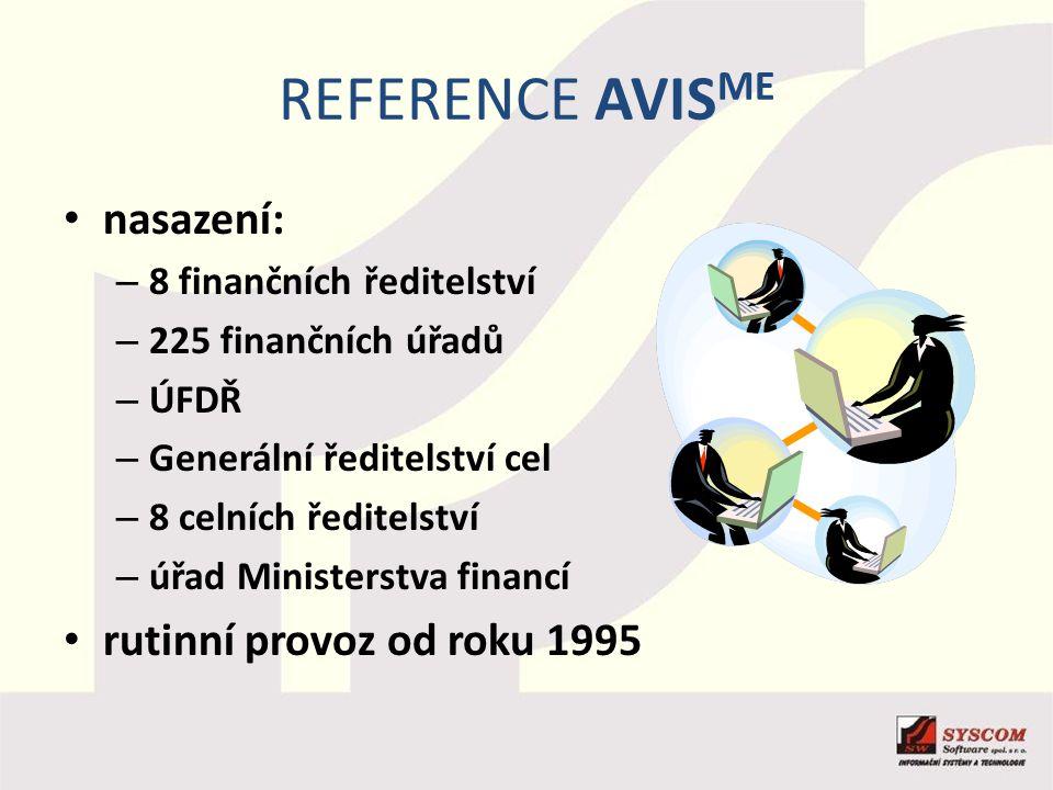 Reference AVISME nasazení: rutinní provoz od roku 1995