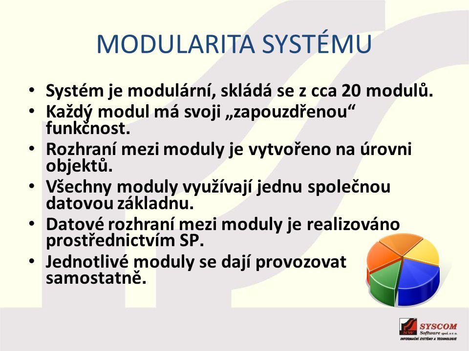 Modularita systému Systém je modulární, skládá se z cca 20 modulů.