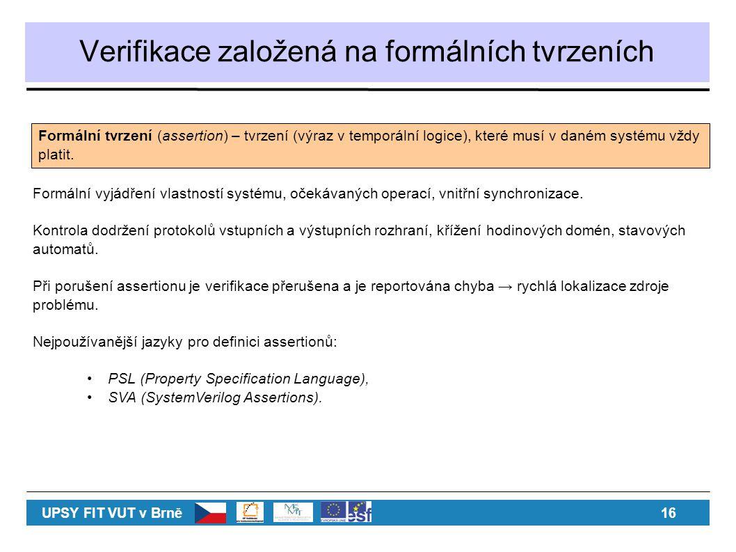 Verifikace založená na formálních tvrzeních