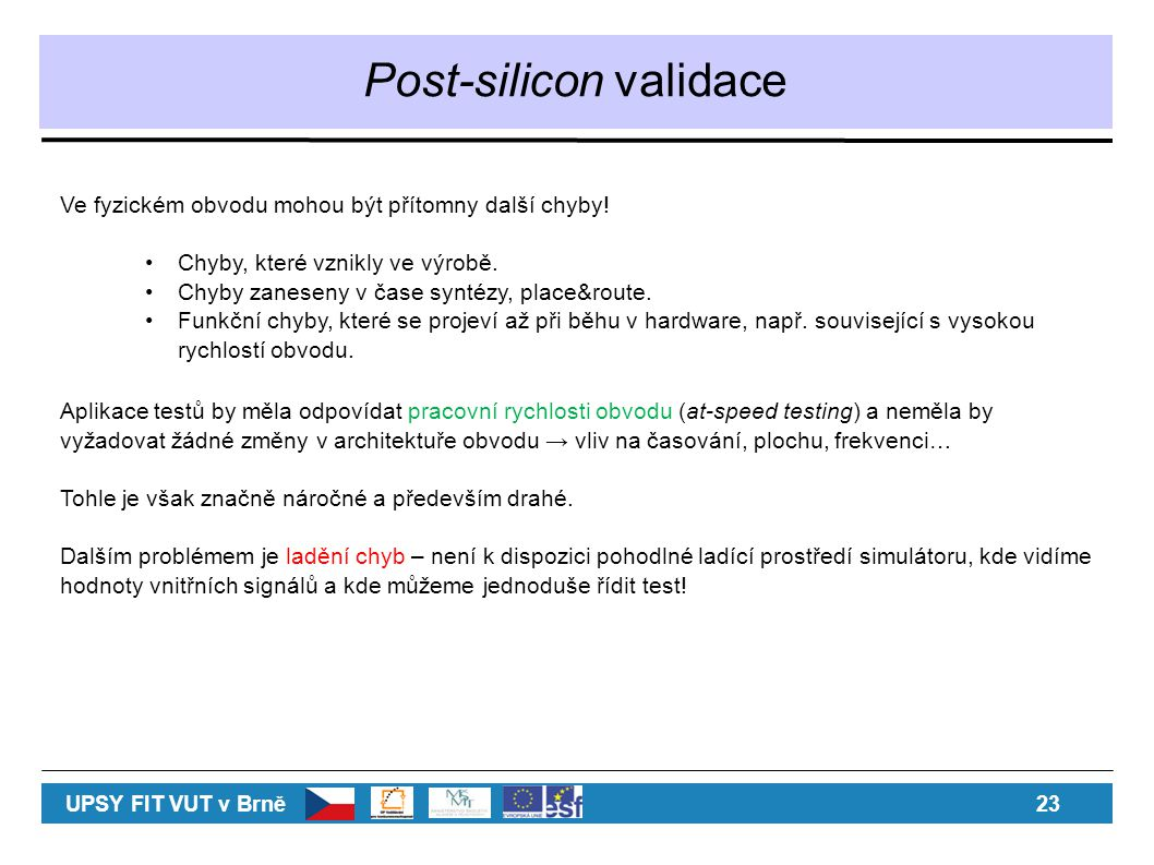 Post-silicon validace