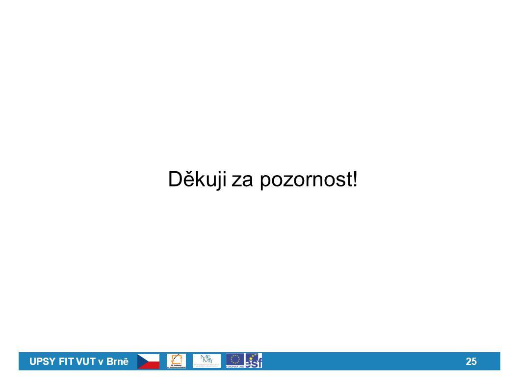 Děkuji za pozornost! UPSY FIT VUT v Brně 25