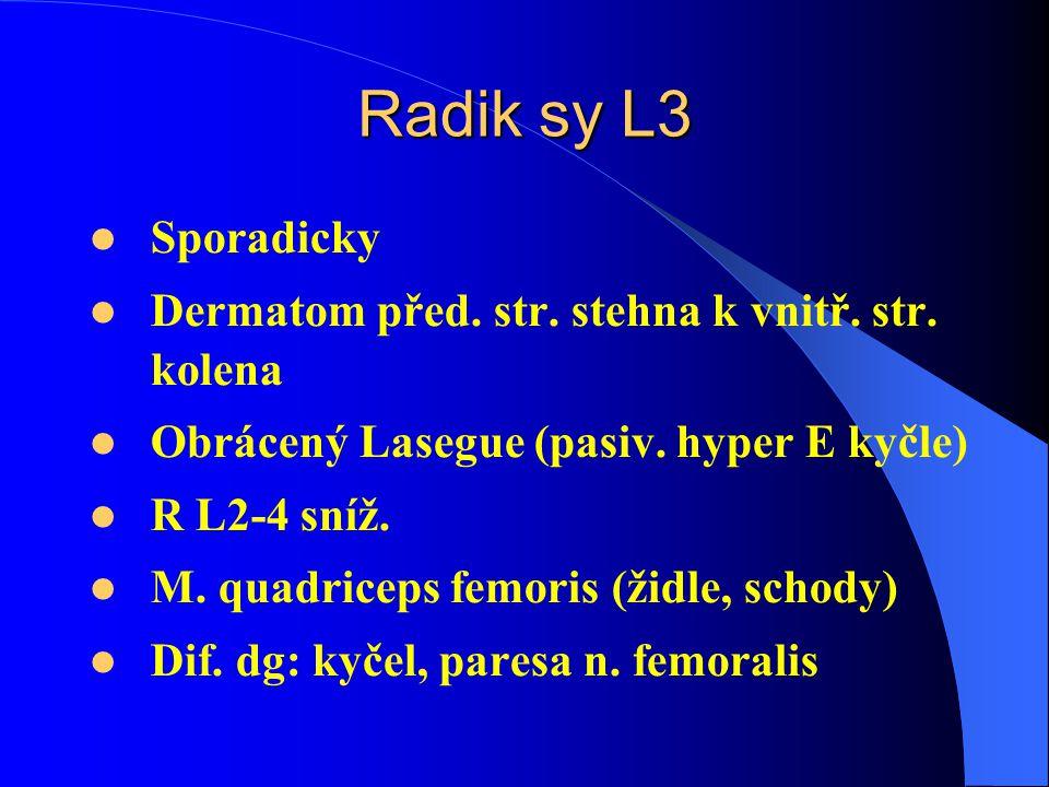 Radik sy L3 Sporadicky Dermatom před. str. stehna k vnitř. str. kolena