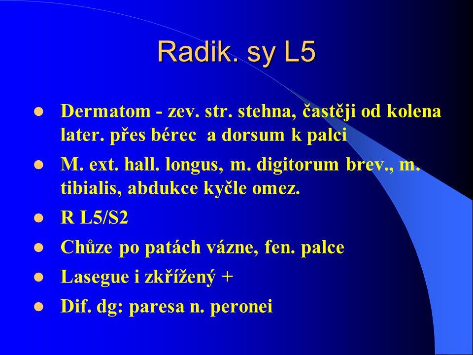 Radik. sy L5 Dermatom - zev. str. stehna, častěji od kolena later. přes bérec a dorsum k palci.