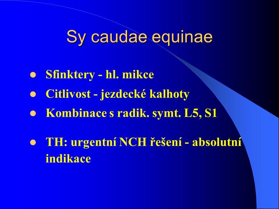 Sy caudae equinae Sfinktery - hl. mikce Citlivost - jezdecké kalhoty