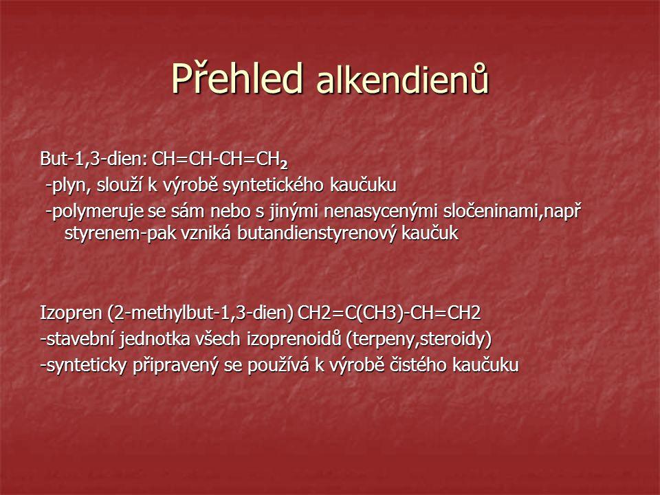 Přehled alkendienů But-1,3-dien: CH=CH-CH=CH2