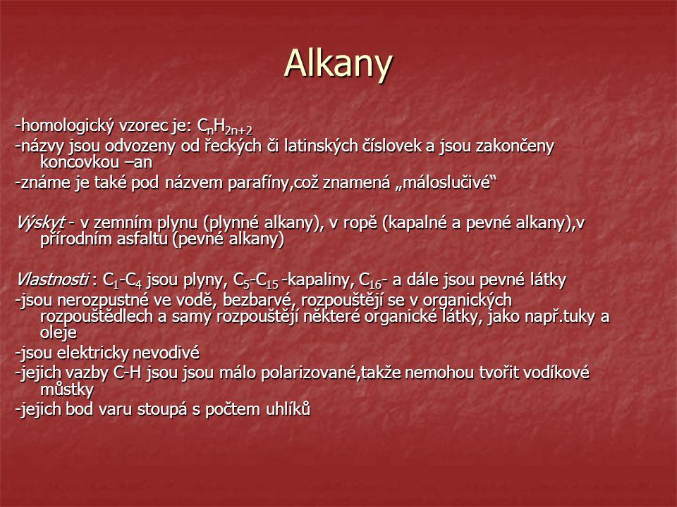 Alkany -homologický vzorec je: CnH2n+2
