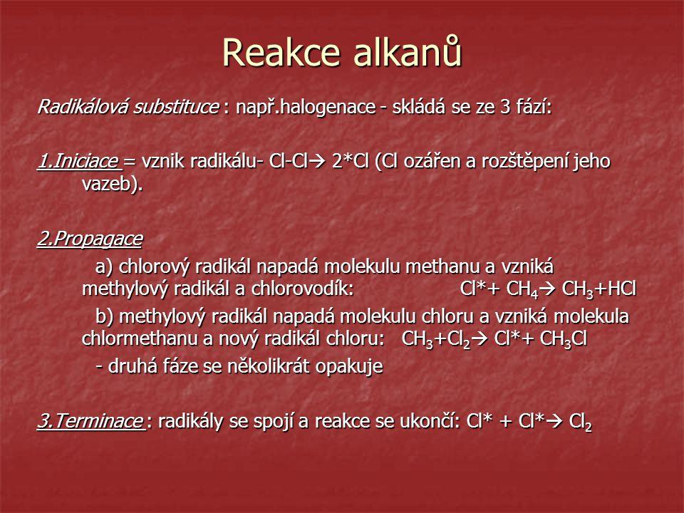 Reakce alkanů Radikálová substituce : např.halogenace - skládá se ze 3 fází: