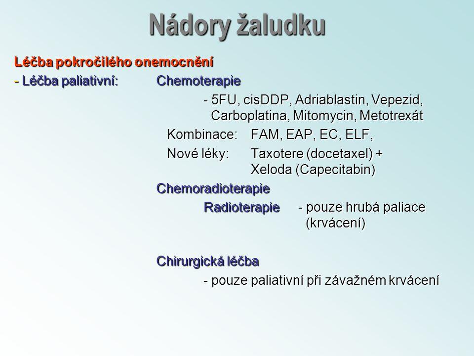Nádory žaludku Léčba pokročilého onemocnění