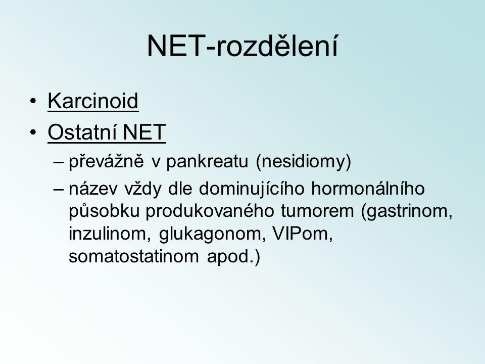 NET-rozdělení Karcinoid Ostatní NET převážně v pankreatu (nesidiomy)