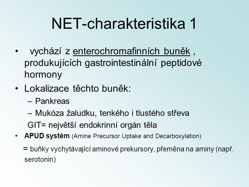 NET-charakteristika 1 vychází z enterochromafinních buněk , produkujících gastrointestinální peptidové hormony.