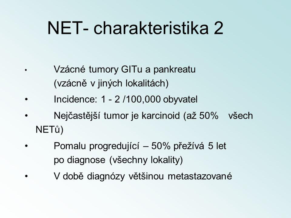 NET- charakteristika 2 Incidence: 1 - 2 /100,000 obyvatel