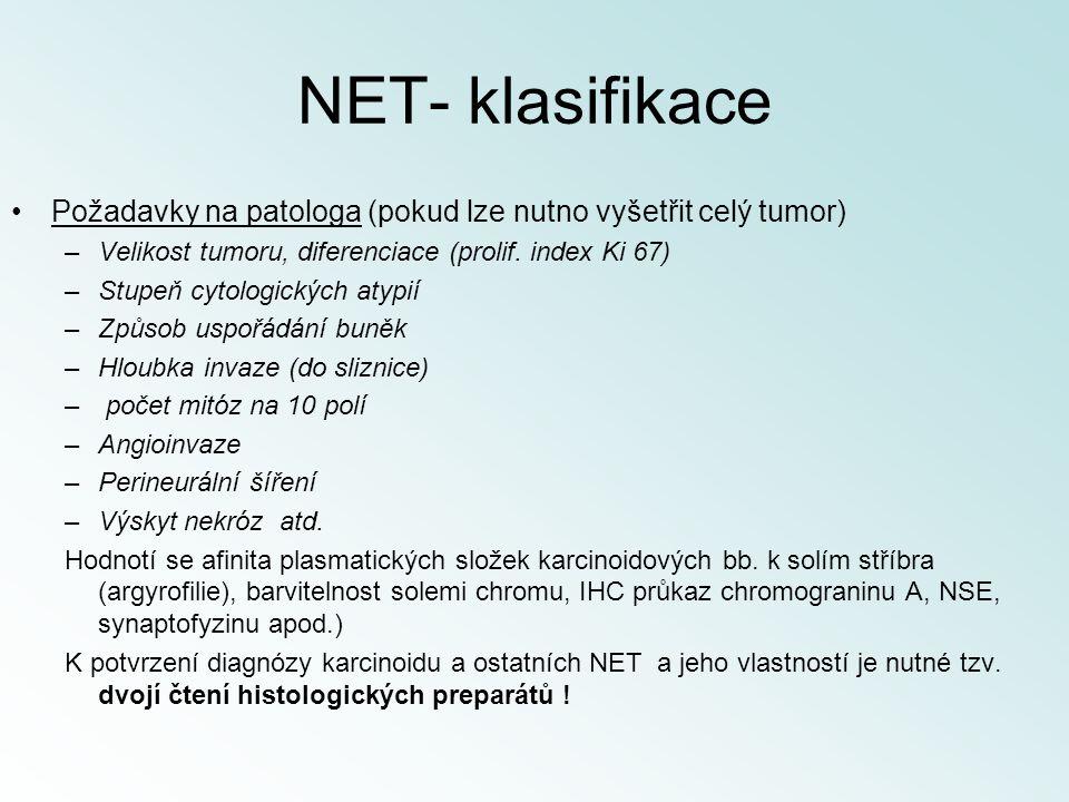 NET- klasifikace Požadavky na patologa (pokud lze nutno vyšetřit celý tumor) Velikost tumoru, diferenciace (prolif. index Ki 67)