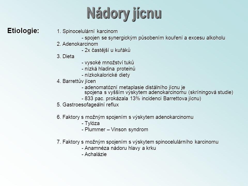 Nádory jícnu Etiologie: 1. Spinocelulární karcinom