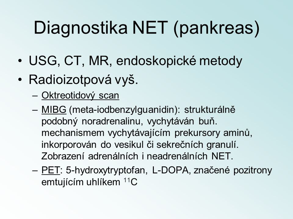 Diagnostika NET (pankreas)