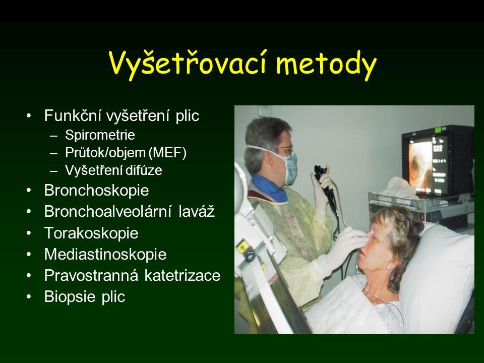 Vyšetřovací metody Funkční vyšetření plic Bronchoskopie