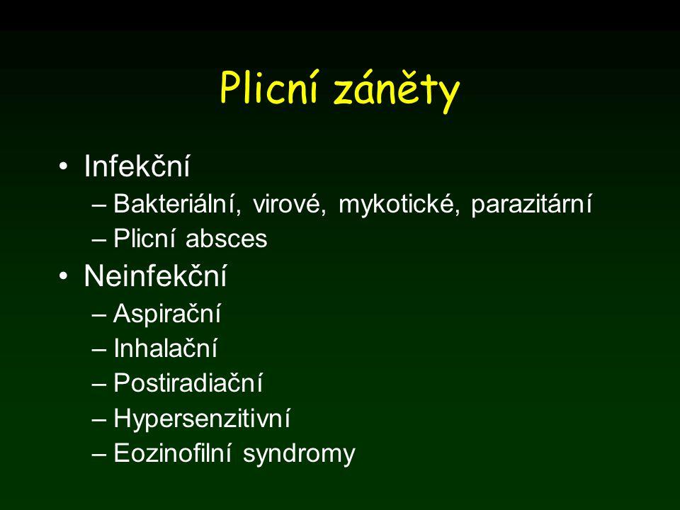 Plicní záněty Infekční Neinfekční