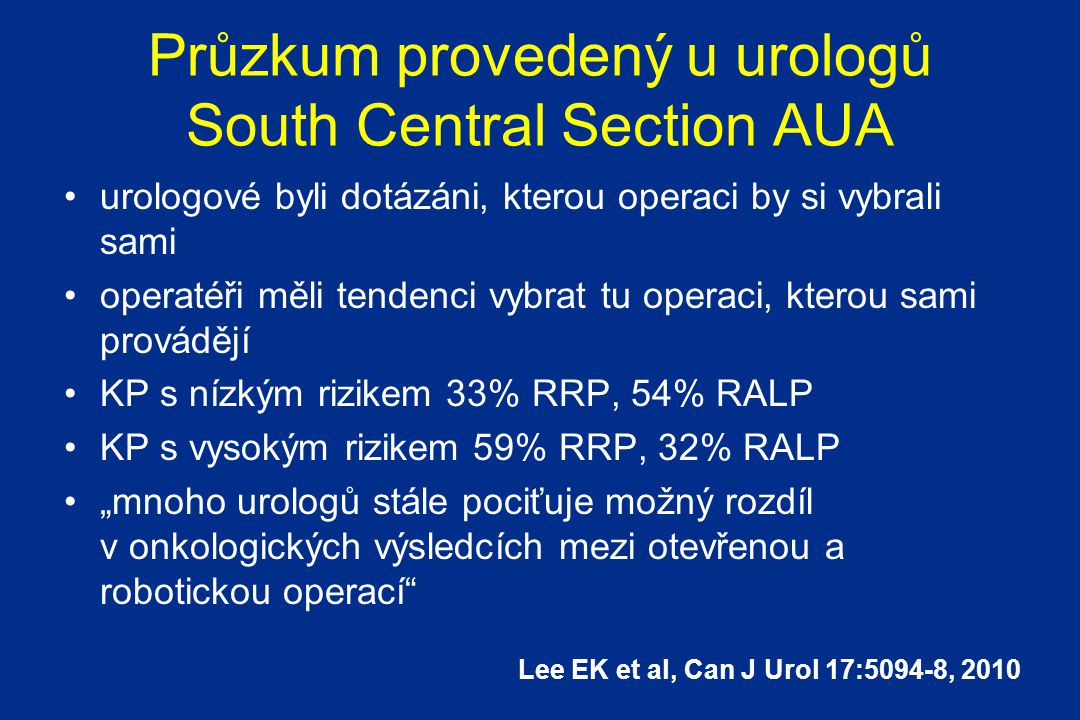 Průzkum provedený u urologů South Central Section AUA
