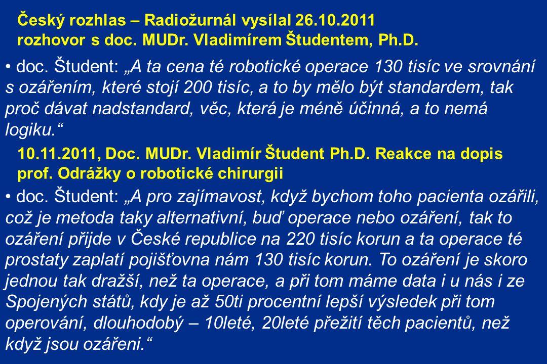 Český rozhlas – Radiožurnál vysílal 26.10.2011