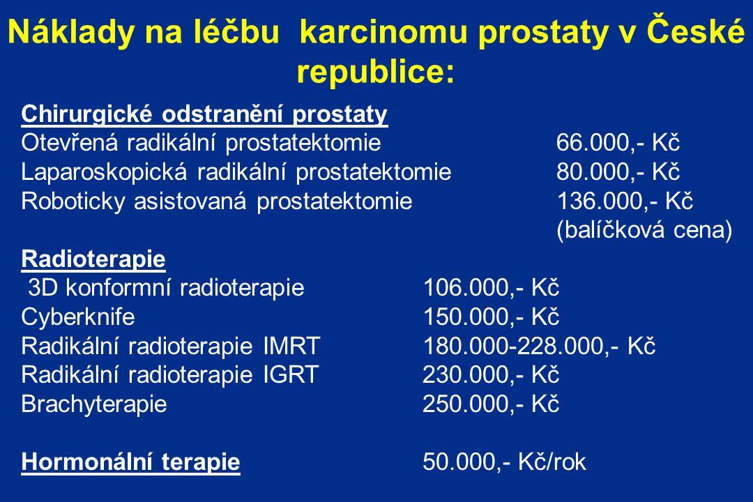 Náklady na léčbu karcinomu prostaty v České republice: