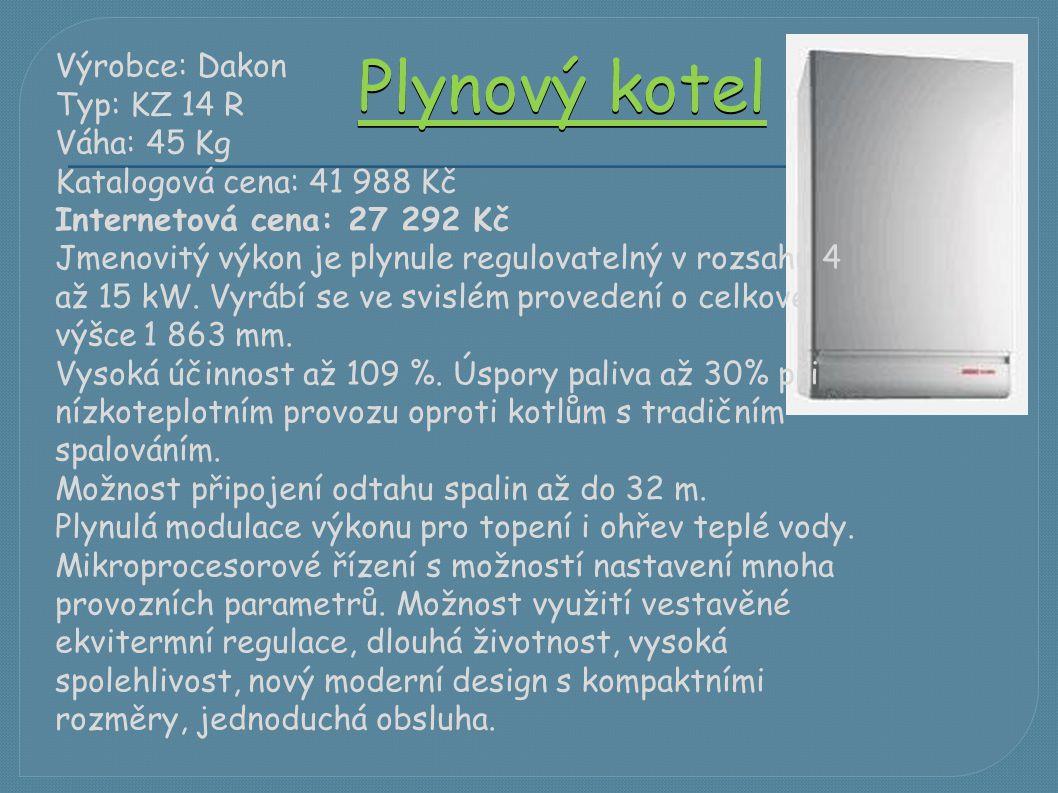 Plynový kotel Výrobce: Dakon Typ: KZ 14 R Váha: 45 Kg