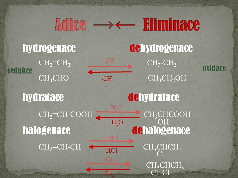Adice →← Eliminace hydrogenace dehydrogenace hydratace dehydratace