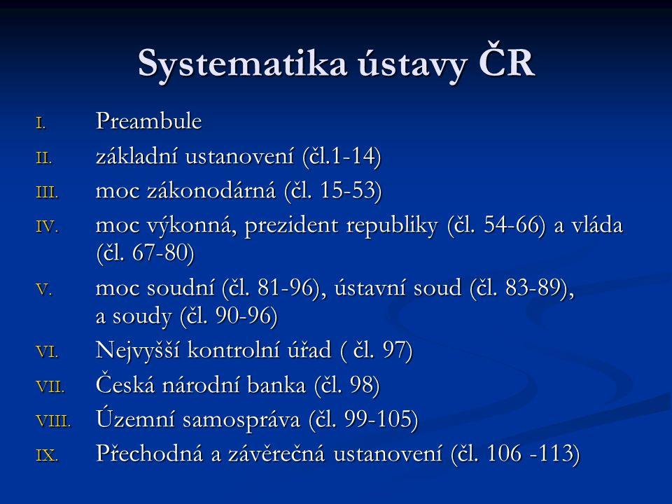 Systematika ústavy ČR Preambule základní ustanovení (čl.1-14)