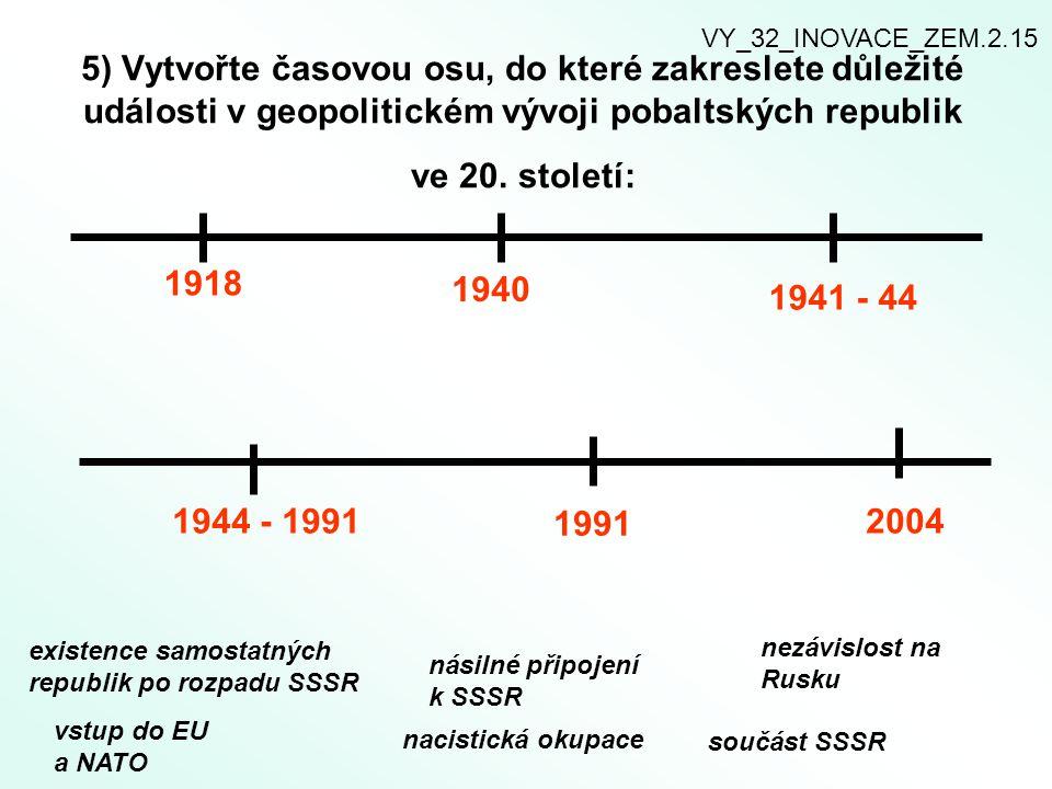 VY_32_INOVACE_ZEM.2.15 5) Vytvořte časovou osu, do které zakreslete důležité události v geopolitickém vývoji pobaltských republik ve 20. století: