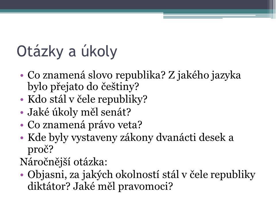 Otázky a úkoly Co znamená slovo republika Z jakého jazyka bylo přejato do češtiny Kdo stál v čele republiky