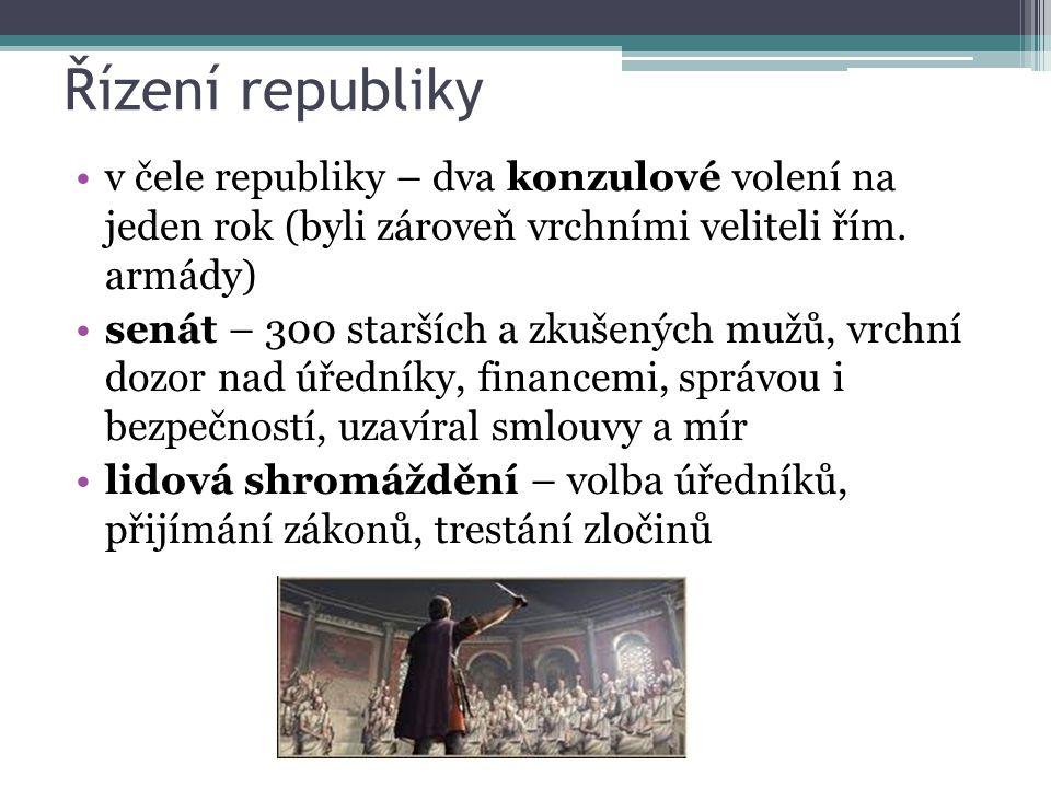 Řízení republiky v čele republiky – dva konzulové volení na jeden rok (byli zároveň vrchními veliteli řím. armády)