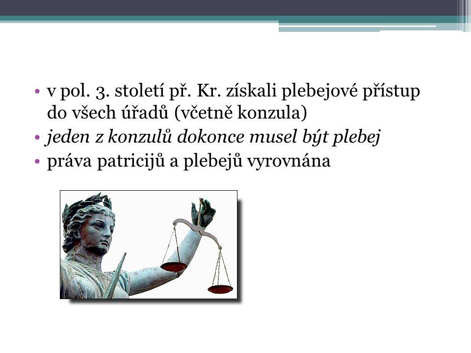 v pol. 3. století př. Kr. získali plebejové přístup do všech úřadů (včetně konzula)