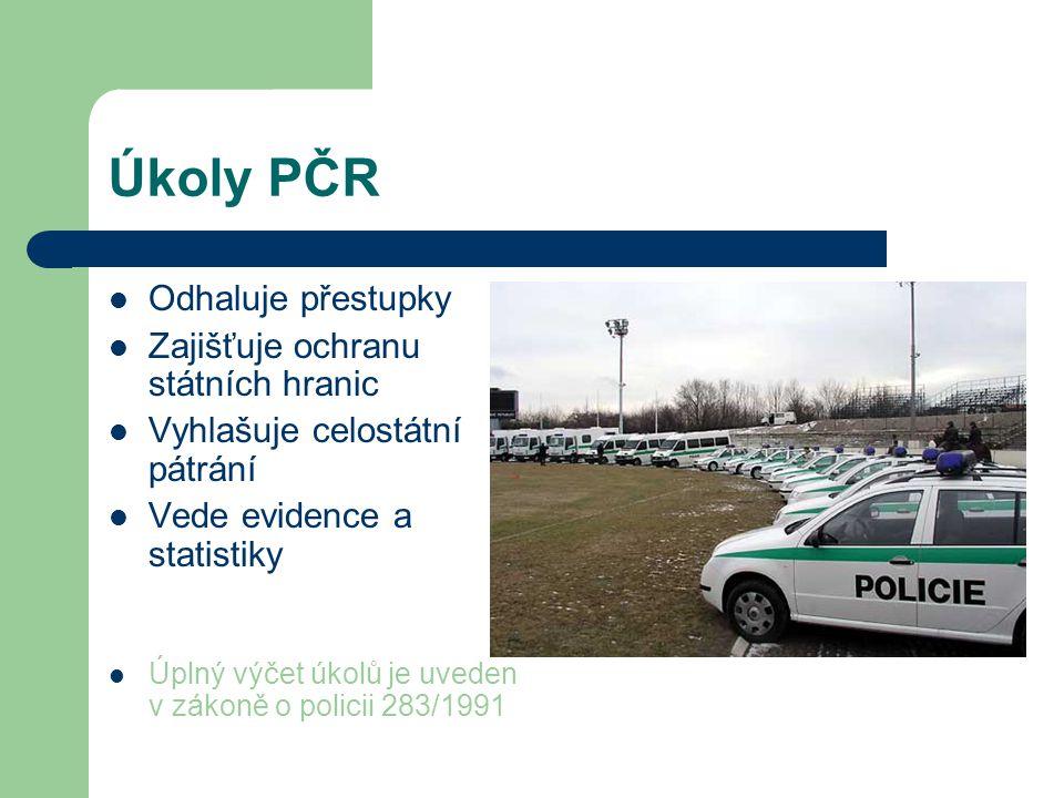 Úkoly PČR Odhaluje přestupky Zajišťuje ochranu státních hranic