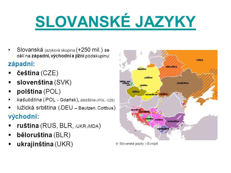 SLOVANSKÉ JAZYKY západní: čeština (CZE) slovenština (SVK)