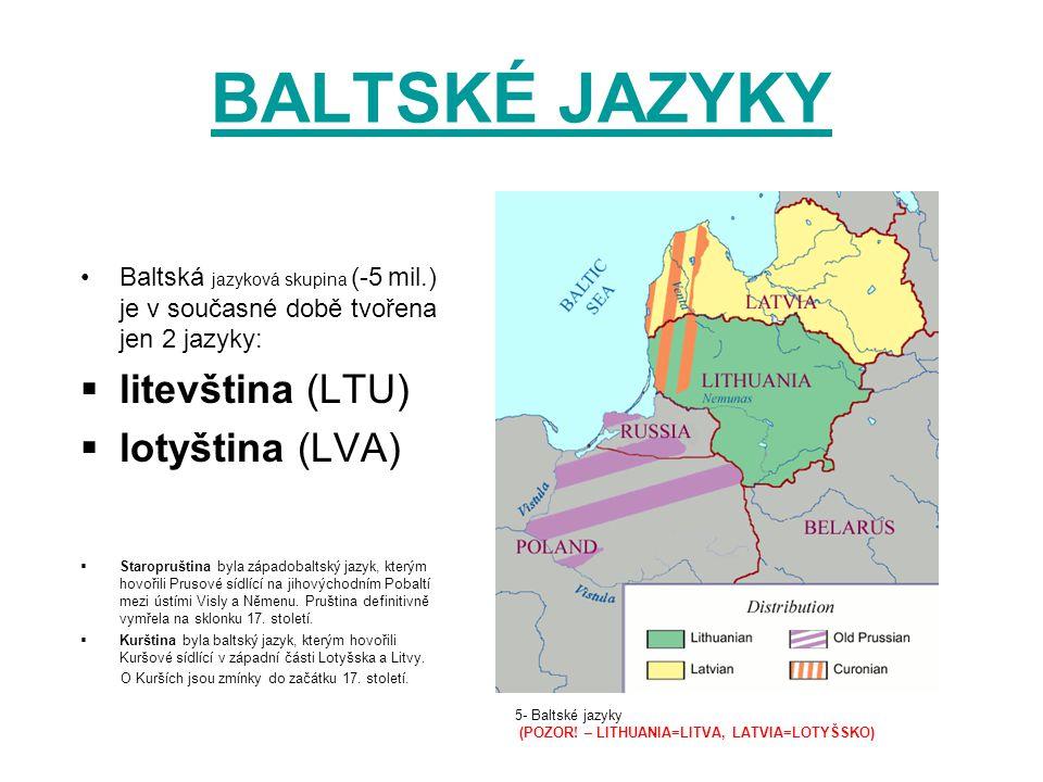 BALTSKÉ JAZYKY litevština (LTU) lotyština (LVA)