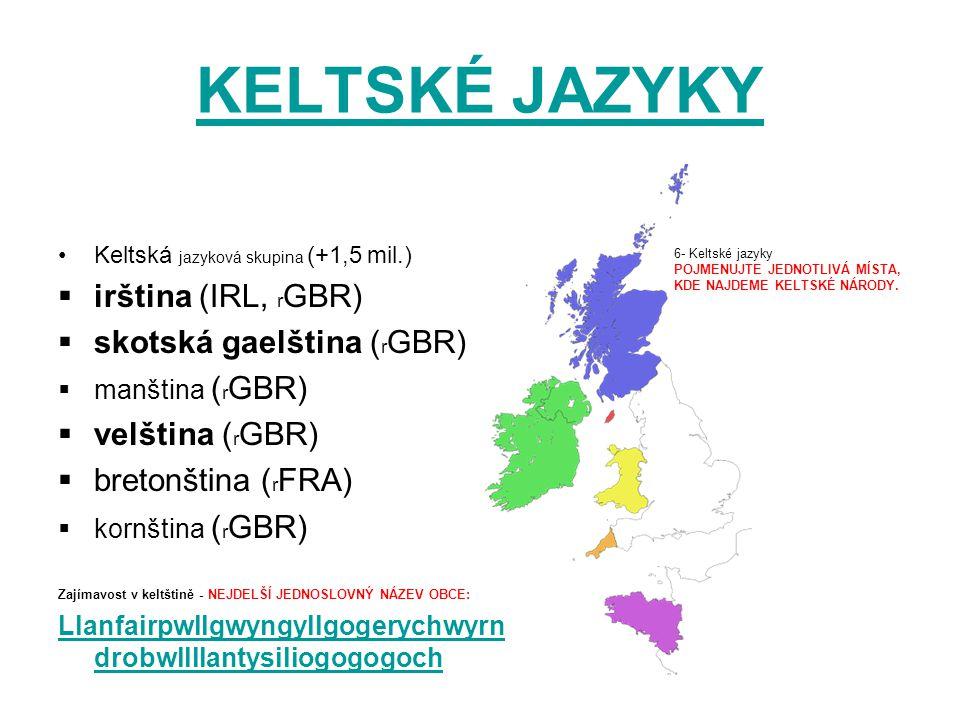 KELTSKÉ JAZYKY irština (IRL, rGBR) skotská gaelština (rGBR)
