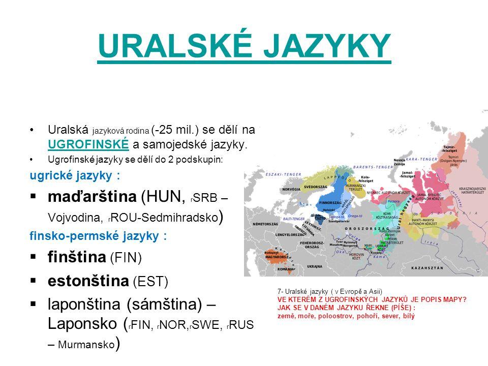 URALSKÉ JAZYKY maďarština (HUN, rSRB – Vojvodina, rROU-Sedmihradsko)