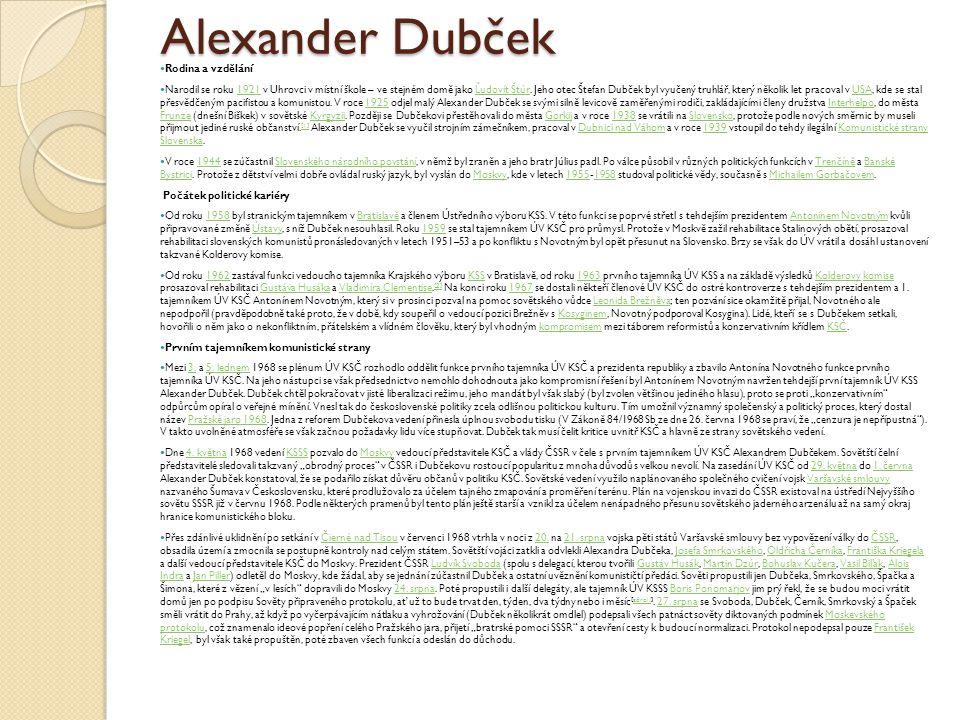 Alexander Dubček Rodina a vzdělání