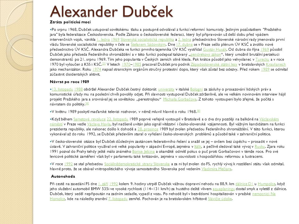 Alexander Dubček Ztráta politické moci