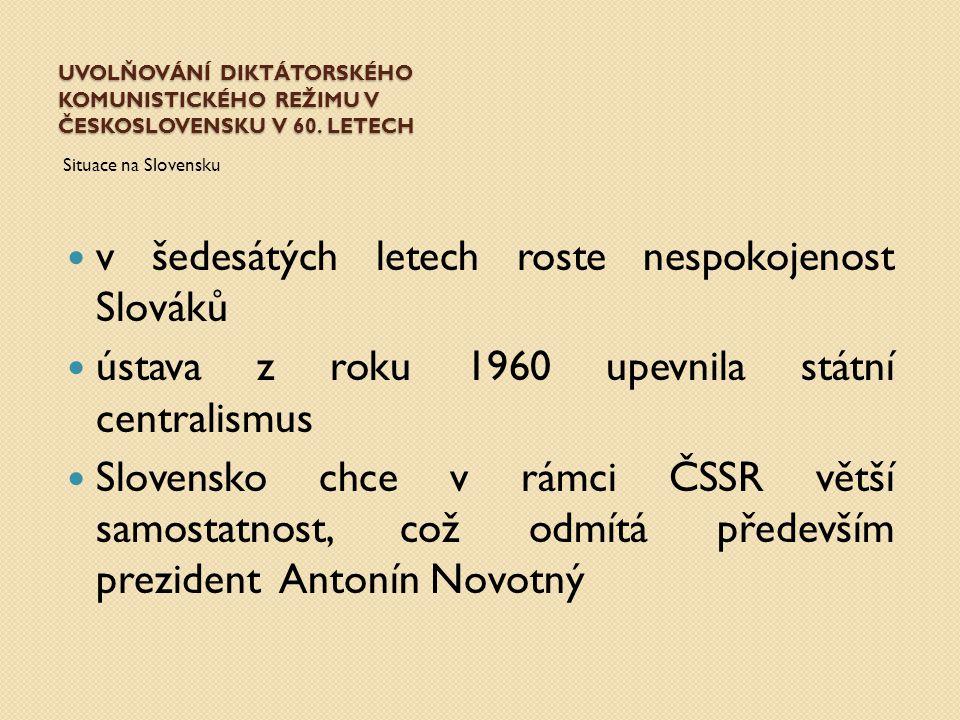 v šedesátých letech roste nespokojenost Slováků