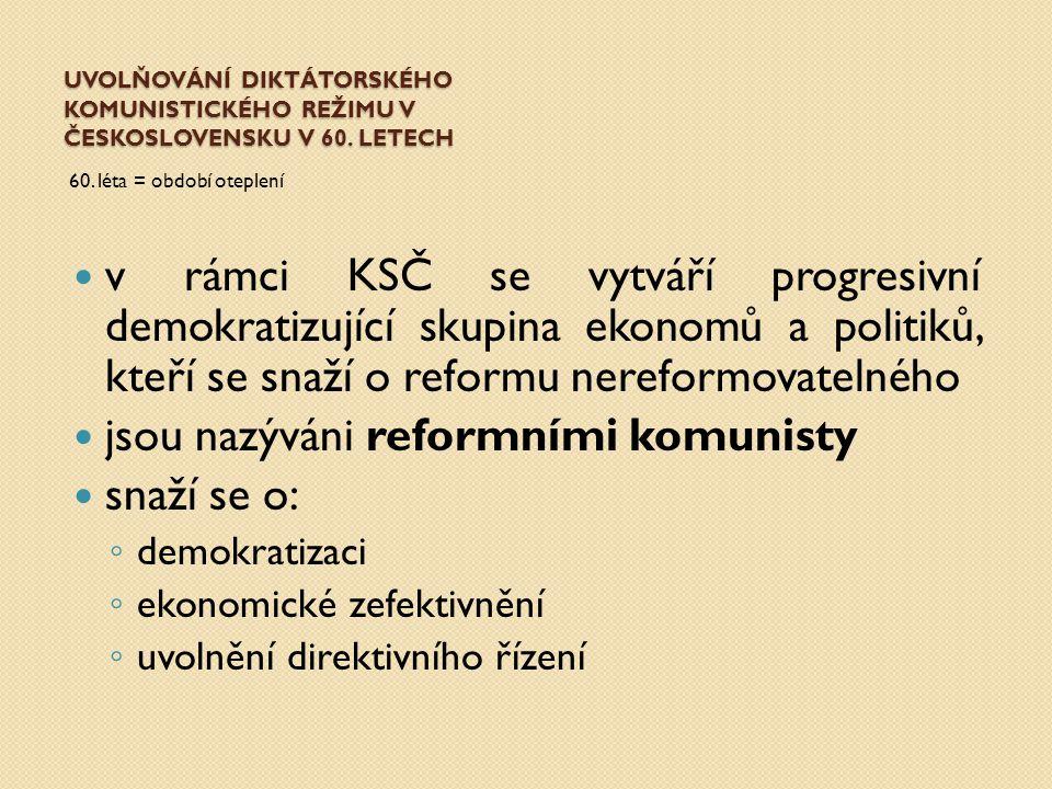 jsou nazýváni reformními komunisty snaží se o: