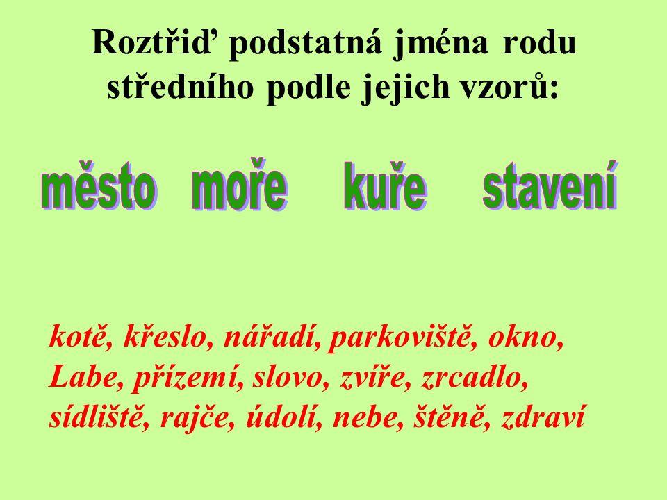 Roztřiď podstatná jména rodu středního podle jejich vzorů: