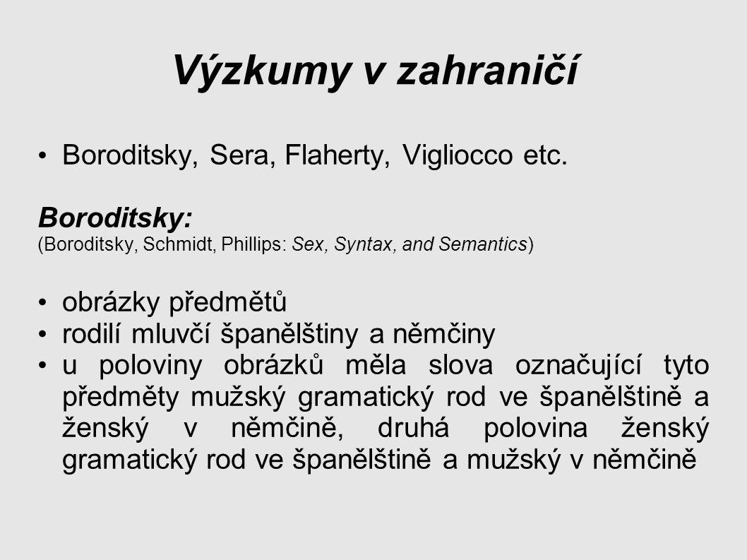 Výzkumy v zahraničí Boroditsky, Sera, Flaherty, Vigliocco etc.