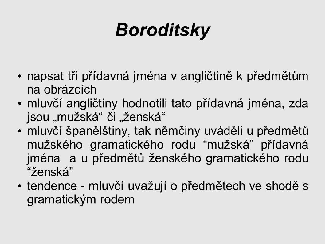 Boroditsky napsat tři přídavná jména v angličtině k předmětům na obrázcích.