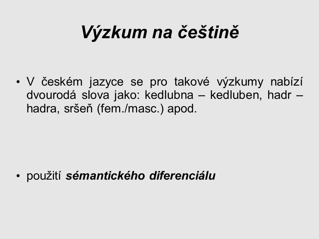 Výzkum na češtině V českém jazyce se pro takové výzkumy nabízí dvourodá slova jako: kedlubna – kedluben, hadr – hadra, sršeň (fem./masc.) apod.