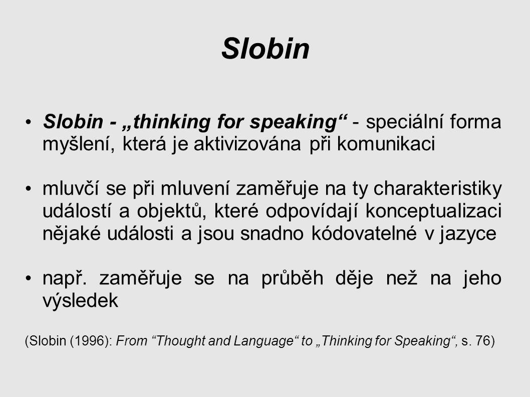 """Slobin Slobin - """"thinking for speaking - speciální forma myšlení, která je aktivizována při komunikaci."""