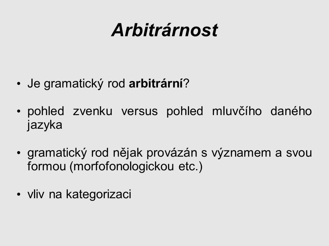 Arbitrárnost Je gramatický rod arbitrární