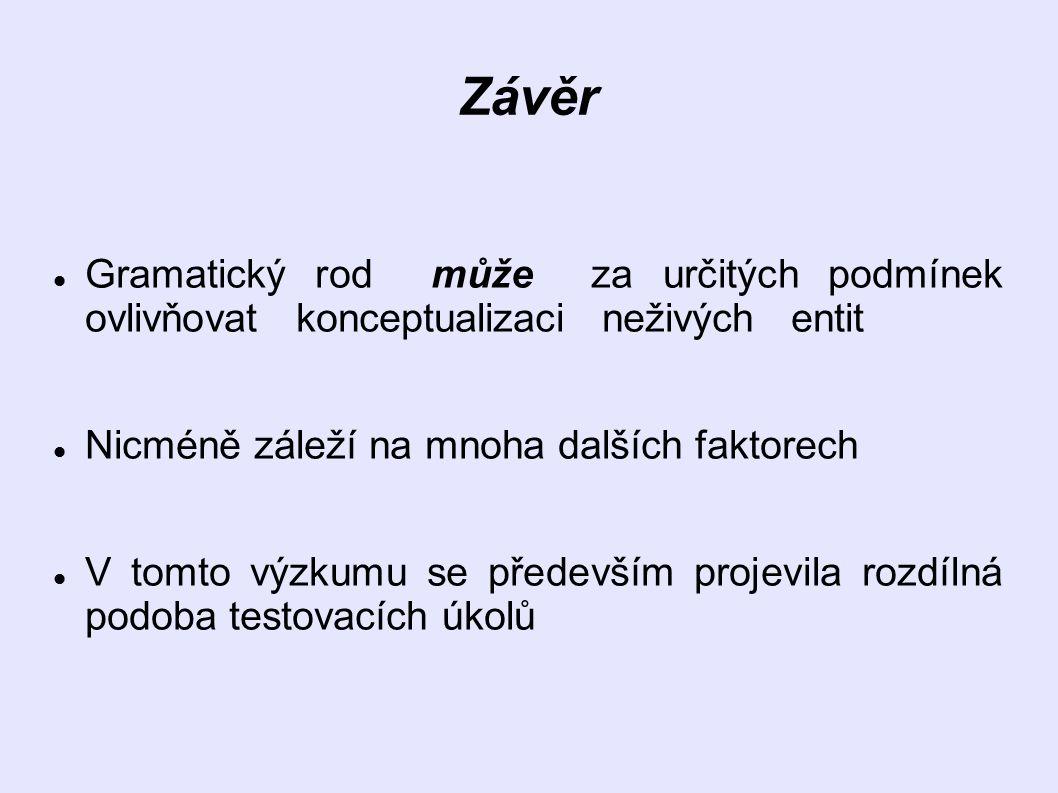 Závěr Gramatický rod může za určitých podmínek ovlivňovat konceptualizaci neživých entit. Nicméně záleží na mnoha dalších faktorech.