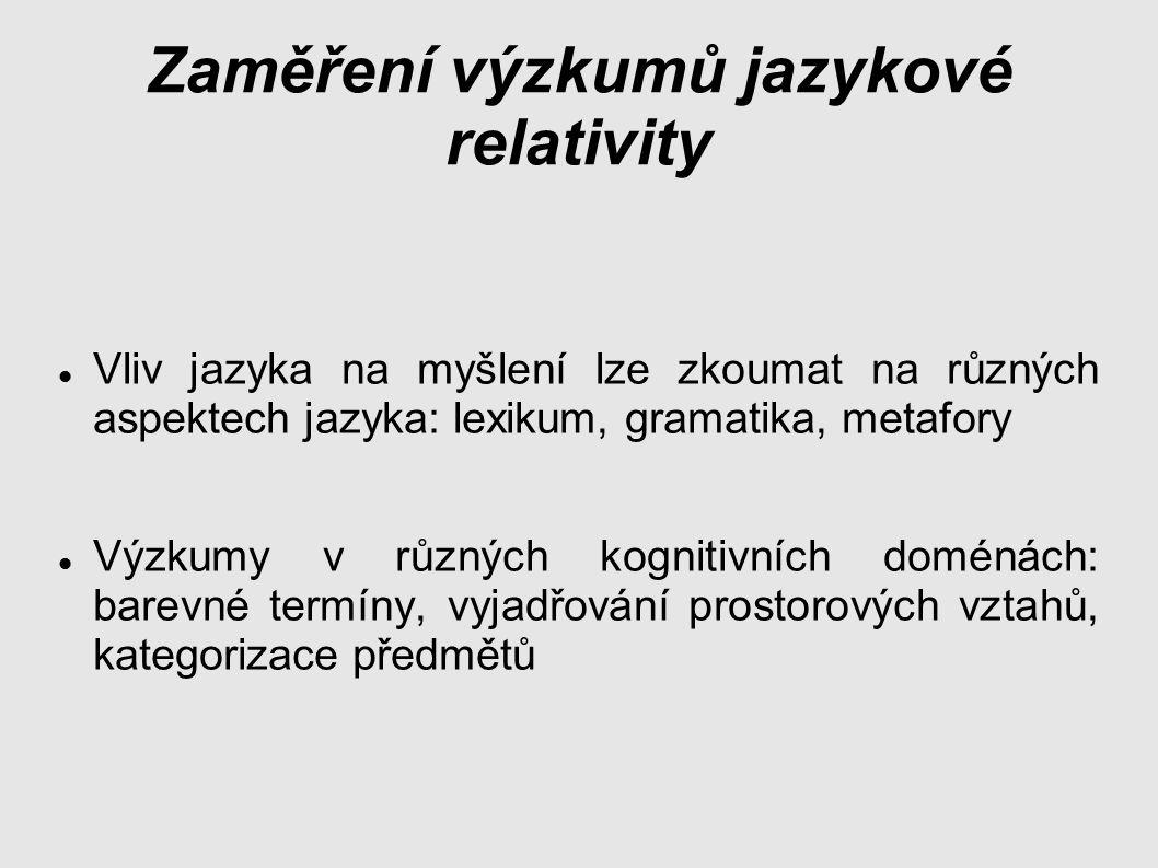 Zaměření výzkumů jazykové relativity