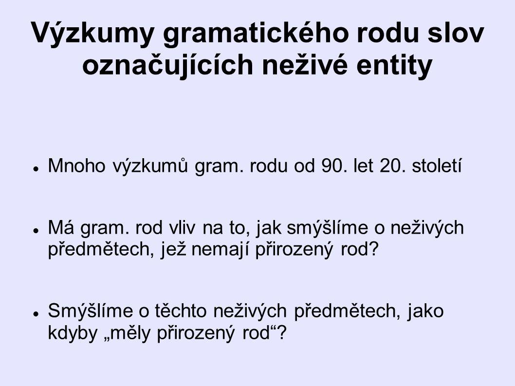 Výzkumy gramatického rodu slov označujících neživé entity