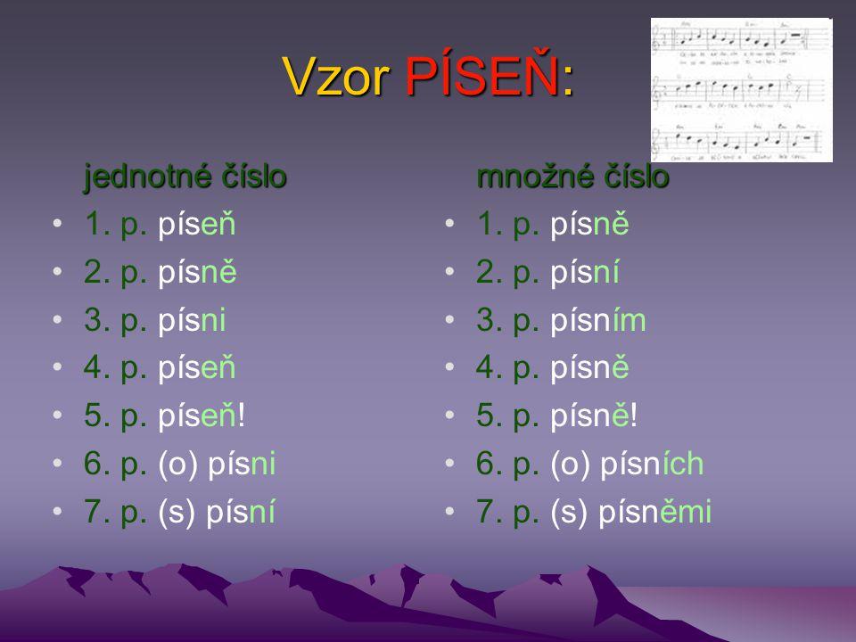 Vzor PÍSEŇ: jednotné číslo 1. p. píseň 2. p. písně 3. p. písni