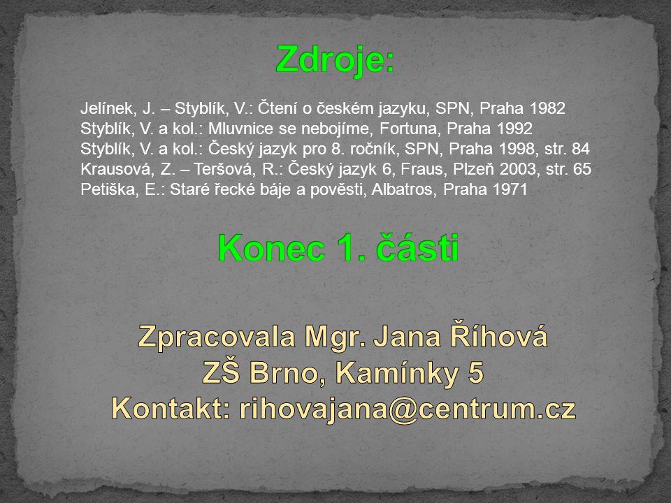 Zpracovala Mgr. Jana Říhová Kontakt: rihovajana@centrum.cz
